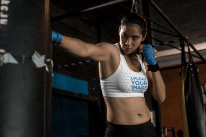 Sports Bra Mockup of a Female MMA Fighter Training 26246