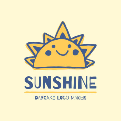 Day Care Logo Maker with a Sunshine Illustration 1927b
