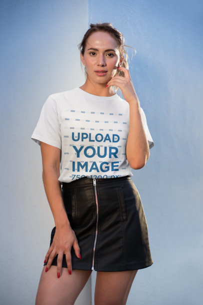 Mockup of a Pretty Girl Wearing a T-Shirt and a Leather Skirt 26653