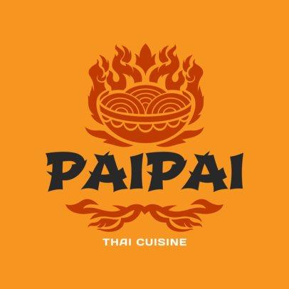 Thai Cuisine Logo Maker with Burning Food Graphics 1845