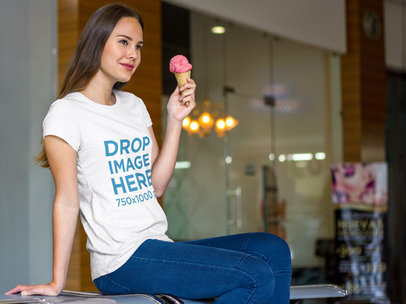 Woman at a Mall Having an Ice-cream T-Shirt Mockup a7985