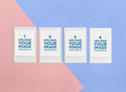 Mockup of Four Polaroid Frames over a Colorful Setting 26310