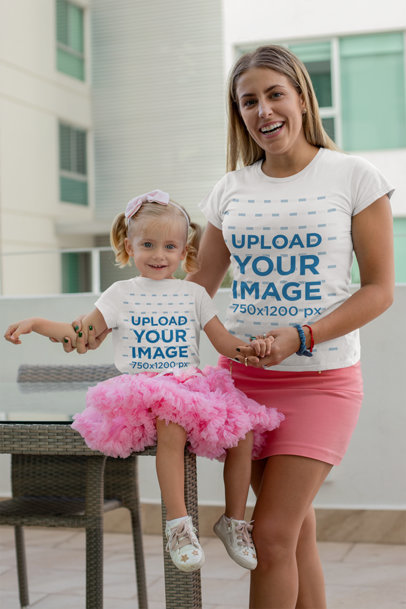 Mockup of a Mom and Her Baby Girl Wearing T-Shirts and Pink Skirts