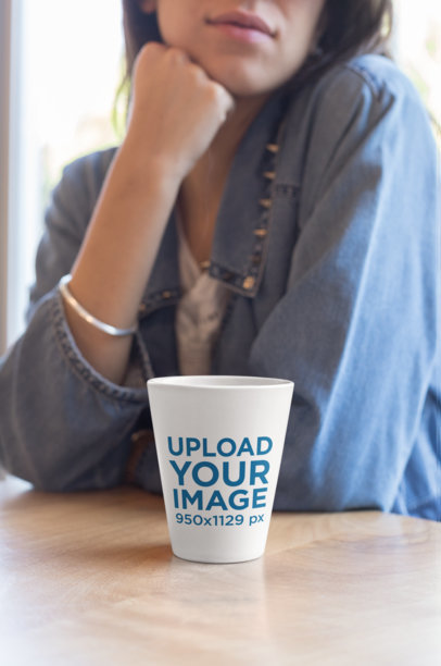 Coffee Mug Mockup Featuring a Girl Wearing a Denim Shirt 26445