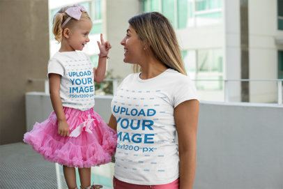 T-Shirt Mockup of a Mother and a Daughter with Matching Outfits 26496