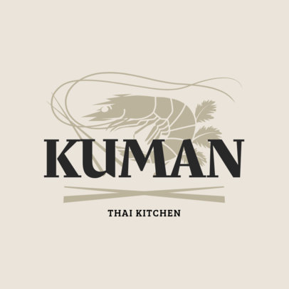 Logo Maker for a Thai Kitchen with a Shrimp Clipart 1845a
