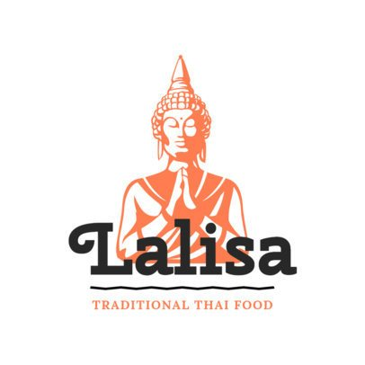 Logo Generator for a Traditional Thai Food Restaurant with a Buddha Clipart 1845e