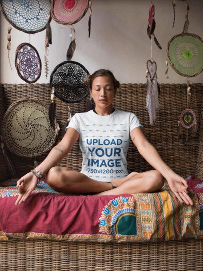 T-Shirt Mockup of a Yoga Girl Surrounded by Tribal Ornaments 26851
