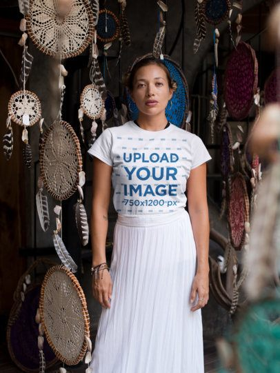 Tee Mockup of a Girl Standing by Hanging Dream Catchers 26852