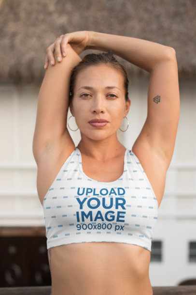 Sports Bra Mockup of a Woman Stretching Her Shoulder  26858