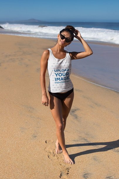 Tank Top Mockup of an Athletic Woman at the Beach 26773