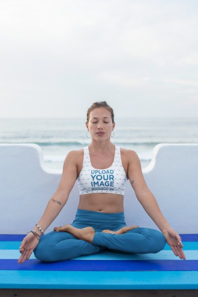 Mockup of a Meditating Woman in Sports Bra and Leggings 26861