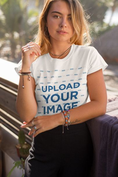 Tee Mockup Featuring a Blonde Young Woman near Some Palm Trees 26749
