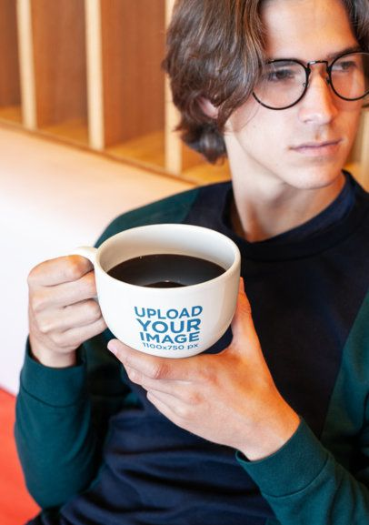 Coffee Mug Mockup of a Young Man with Blonde Hair and Trendy Glasses 26512