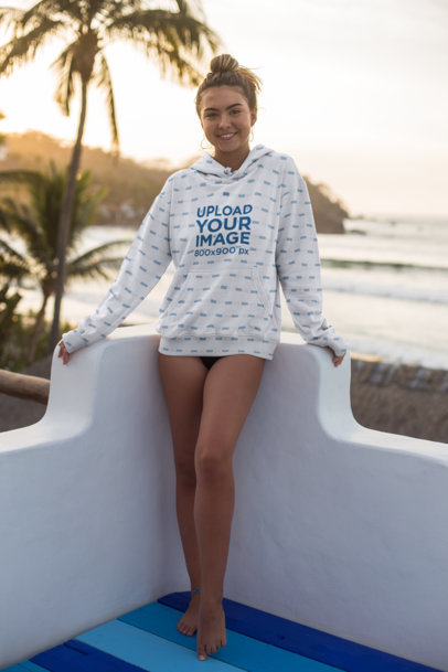 Hoodie Mockup of a Smiling Woman Posing at Sunset 26781