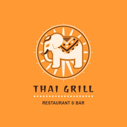 Thai Food Logo Maker with an Elephant Clipart