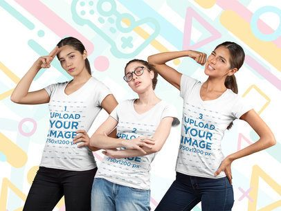 Mockup of Three Female Gamers Posing Against a Cool Gaming Background 25944