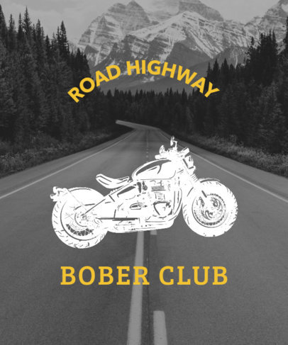 Biker T-Shirt Design Template With a Highway Picture 330a