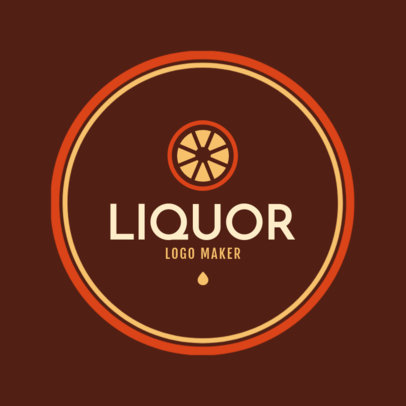 Simple Liquor Store Logo Maker with a Round Frame Design 1816a