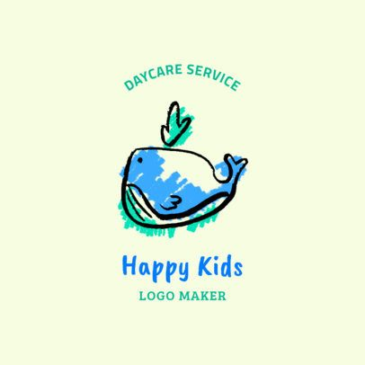 Daycare Logo Design Maker with a Whale Drawing 1928b