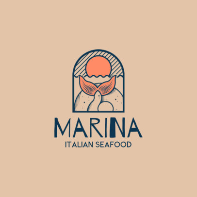 Italian Restaurant Logo Maker with Seafood Graphics 1929d