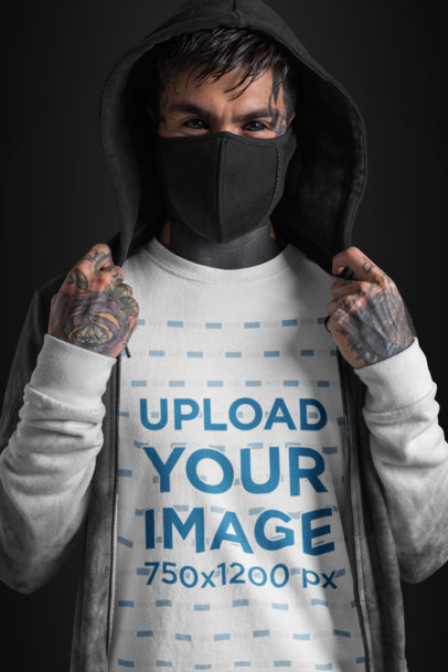 T-Shirt Mockup of a Goth Man with Tattooed Eyes Wearing a Mouth Mask 26598