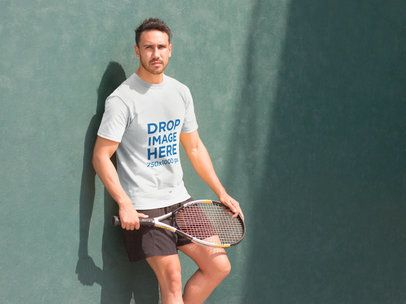 Athletic Man Playing Tennis T-Shirt Mockup a8023