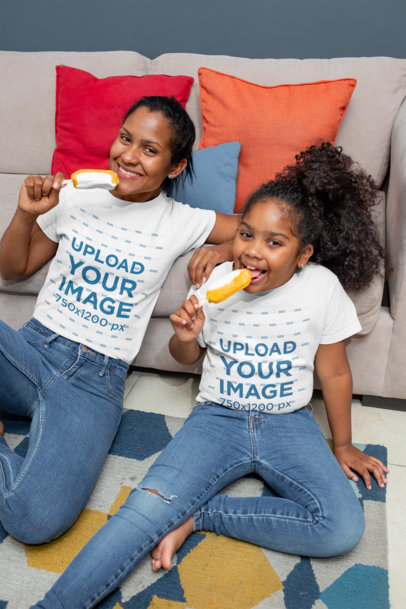 Tee Mockup of a Mom and Her Daughter Eating a Popsicle at Home 26388