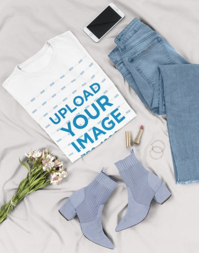 Flat Lay Tee Mockup of a Fashionable Outfit 26331