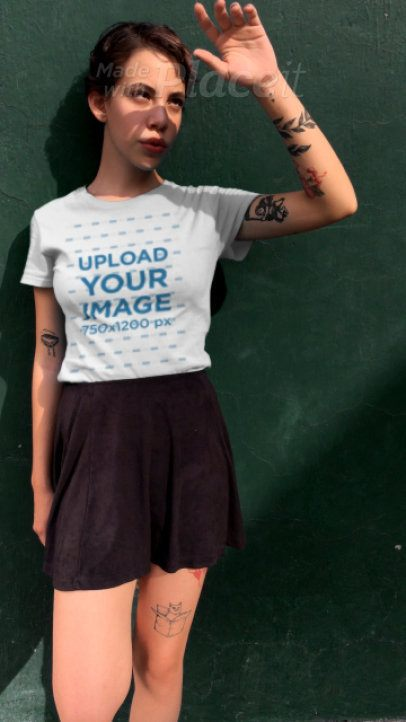 T-shirt Video Maker Featuring an Edgy Woman with Tattoos 23267