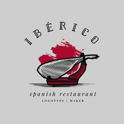 Modern Logo Maker for a Spanish Restaurant Featuring Meat Illustrations 1925d