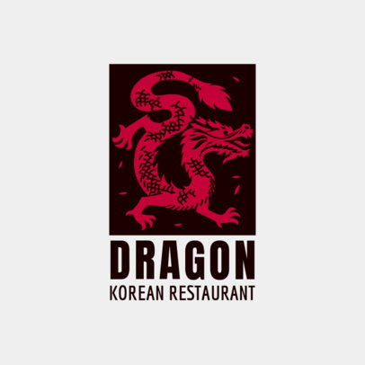 Restaurant Logo Maker with a Korean Dragon Illustration 1921d