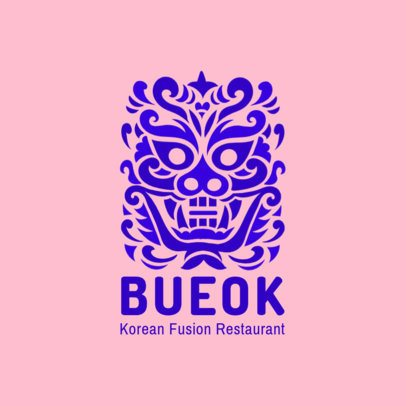 Korean Fusion Restaurant Logo Maker with a Traditional Asian Mask Graphic 1921e