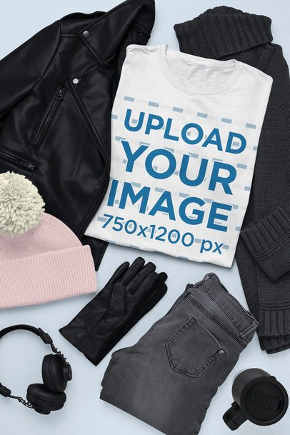 Outfit Mockup of a T-Shirt Surrounded by Winter Garments 26393