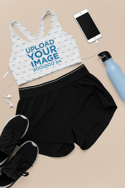 Sports Bra Mockup Featuring a Cute Sporty Outfit with Shorts 26343