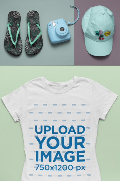 Tee Mockup of a Summer Outfit Featuring a Cap and Flip Flops 26551