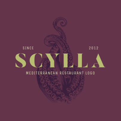 Mediterranean Restaurant Logo Maker with Tentacle Clipart 1931d