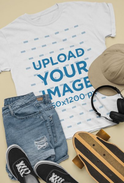 Flat Lay T-Shirt Mockup Featuring a Casual Skater Outfit 26344