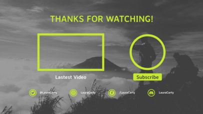 YouTube End Screen Design Template  with a Subscription Button Feature 1258