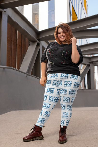 Mockup of a Smiling Woman Wearing a Plus Size Leggings in an Urban Scenario 24893