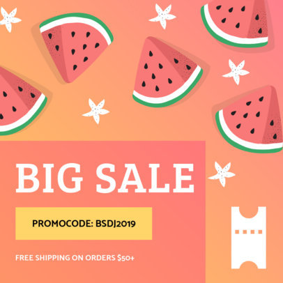 Big Sale Coupon Design Template with Watermelon Illustrations 1010a