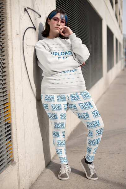 Mockup of a Cool Woman Wearing Plus Size Leggings and a Sweatshirt 25005