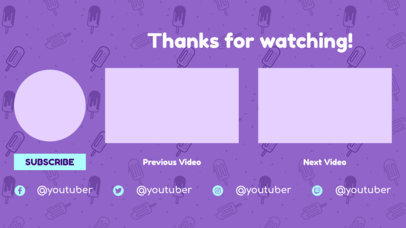 YouTube End Card Design Template with a Doodles Background 1254