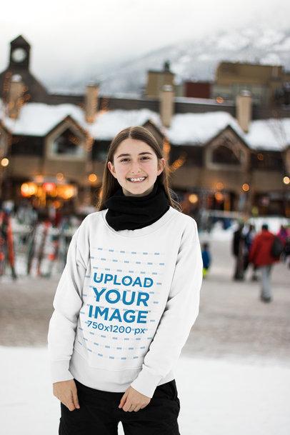 Sweatshirt Mockup of a Girl Smiling in a Winter Scenario 25429