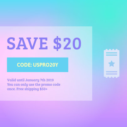 Minimalistic Coupon Design Template with Promo Offer 1010c