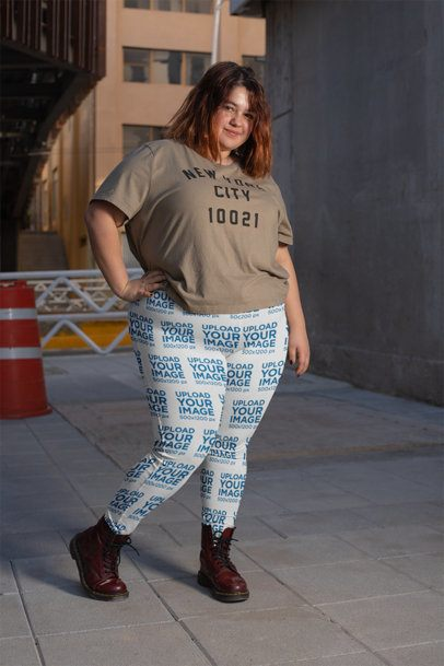 Plus Size Leggings Mockup of a Trendy Woman in an Urban Scenario 24907