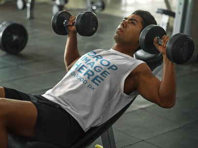 Athletic Man Lifting Weights at the Gym Tank Top Mockup a8157
