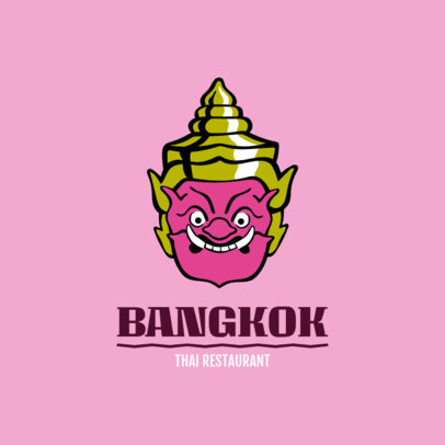 Thai Food Restaurant Logo Maker Featuring a Traditional Mask 1842