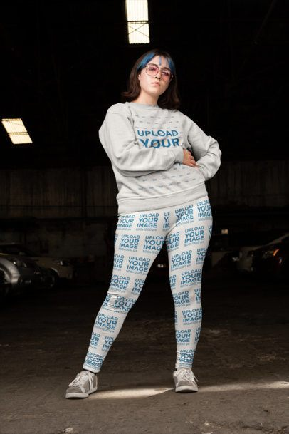 Mockup of a Woman with Pink Sunglasses Wearing Plus Size Leggings and a Sweatshirt 25007