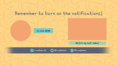 YouTube End Card Template with Fun Cartoon Graphics 1262a